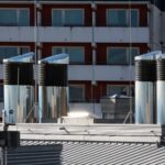 Ventilation chimneys on a roof