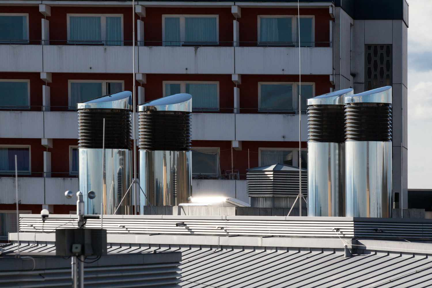 Ventilation chimneys on a roof