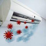 coronavirus particles entering an air conditioner