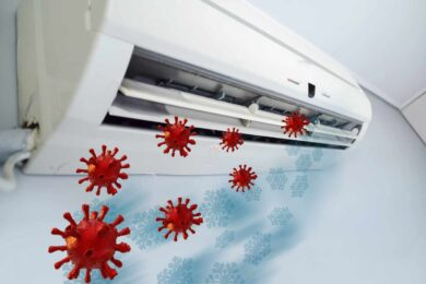 coronavirus particles entering an air conditioner